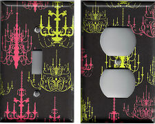 Pink & Lime Green Elegant Chandeliers on Black Background Switchplates & Outlet