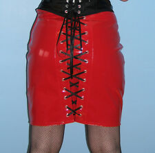 Sexy tight red pvc vinyl knee length wiggle burlesque pencil skirt all sizes