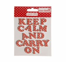 Gingham + Rose Polka Dot Fridge Magnets KEEP CALM AND CARRY ON Magnetic letters