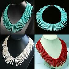 3 Colors Howlite Turquoise Stone Spike Beads Necklace Choker Collar Jewelry