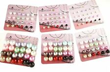 Lot of 12 color bead faux pearl stud earrings studs