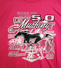 Ford Mustang 5.0 Ladies Bright Pink T-shirt Mustang Car Front 1-Sided Logo