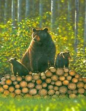 3227 WILD BEARS ON A LOG PILE FINE WALL ART FANTASY METAL WALL SIGN BRAND NEW
