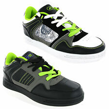 New Older Boys Kids Black Lace Up Skate Style Mercury Trainers Shoes Size 13-6