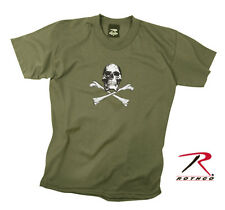 Boys Kids Youth US Military Army Marines Olive Green Skull & Crossbones T-Shirt
