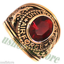 Mens Siam Red CZ US Air Force Military Gold Plated Ring