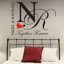 BEDROOM WALL STICKERS PERSONALISED TOGETHER FOREVER DECALS QUOTES LOVE ROMANCE