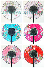 Ancient Chinese Lady Roundness Folding Fan Bamboo Hand Fan