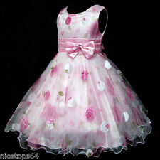 P3211 Kid Pinks Chiffon Wedding Flower Girls Pageant Dress Outfit SZ 3,4,5,6,7,8