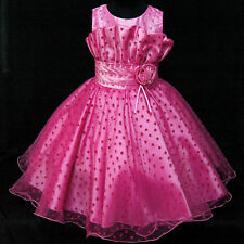 HP8811 Kid Girl Pink X'mas Bridal Flower Girls Pageant Dress SZ 2-3-4-5-6-7-8-9T