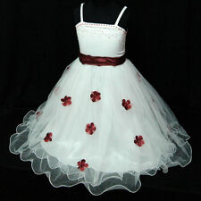 R408 Toddler Kid Girl Red Wedding X'mas Girls Dress Outfit SIZE 2-3-4-5-6-7-8-9T