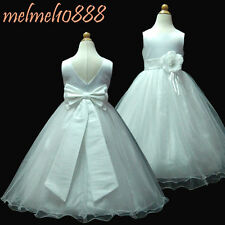 UKMD59B White Full Length Pageant Bridesmaid Flower Girls Dress Size 1 to 13