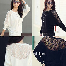 PLUS SIZE UK 8-26 Women Casual Batwing Lace Long Sleeve Loose T-Shirt Blouse Top