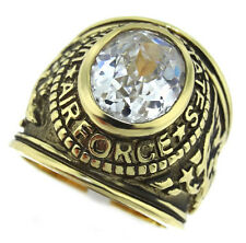 Mens Simulated Diamond US Air Force Military Gold Plated Ring