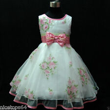 P573 Pinks Christmas Bridal Party Flower Girls Dress Outfit SZ  2-3-4-5-6-7-8-9T