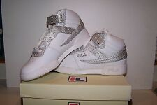 Women's NEW Fila F-13 LEA/SYN White Leather Shoes with Silve & Faux Diamond Trim