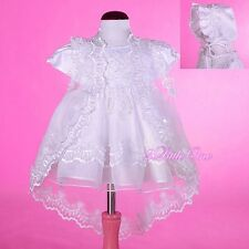 Beaded Baptism Christening Gown Dress Cape Bonnet Wedding Baby Size 3m-18m #008