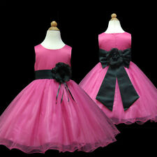 USMD58 Black Wedding Pageant Christmas Party Flower Girl Dress 1 to 14 Years