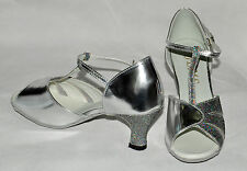 silver and hologram ladies ballroom latin dance shoes  haley