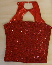 NWOT RED SEQUIN HALTER KEY HOLE TOP JAZZ SHOW QUIRE DANCE FOIL CHILD ADULT