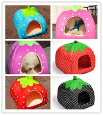 Soft Strawberry Pet Dog Bed House Kennel Doggy Warm Cushion Basket 3 SIZE