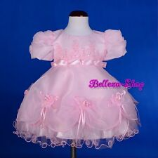 Pearl White Flower Girl Dress Wedding Pageant Christening Baby Size 9-24m FG215