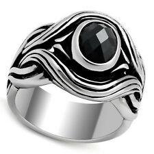 Mens Black Wizard Oval CZ Classic Silver Stainless Steel Ring