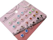 Lot of 12 Fashion Jewelry Color Crystal Magnetic Stud Earrings Girls Women Men