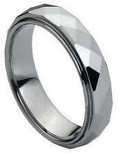 6mm Tungsten Carbide Men Women Wedding Band Ring Domed Faceted Ring Stepped Edge