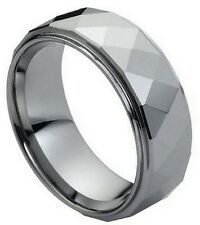 8mm Tungsten Carbide Men Women Wedding Band Ring Domed Faceted Ring Stepped Edge