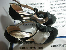 NIB SILVER SLIPPER BLACK HIGH HEELS SZ 9.5 W WIDE