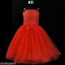 RR408 Red Communion Wedding Party Flower Girls Dress SZ 1-2-3-4-5-6-7-8-10-11-12
