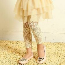Girls Baby Kid Children Princess White Rose Lace Tights Pants trousers 0-12yr