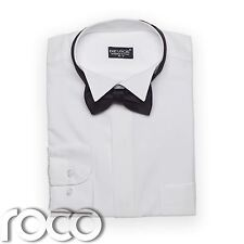 BOYS WHITE WING COLLAR SUIT SHIRT & BOW TIE SET 2-15yrs
