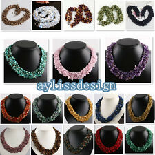 1pc gem stone chips necklace beads chain wrap OT Clasp pick