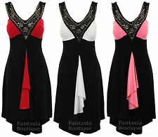 Ladies Sleeveless Diamante Beaded V Neck Contrast High Low Women's Evening Dress