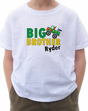 BIG BROTHER BOLD MONSTER TRUCK T-SHIRT PERSONALIZED NAME  4X4 CAR CRUSHER JUMP