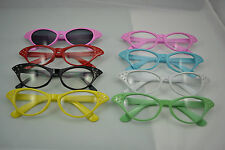 Pink ladies 50s flyaway fancy dress glasses red green yellow black white grease