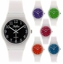 Reflex White Plastic Strap Coloured Dial Kids Girls Boys Watch xmas Gift for Her