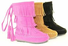 Baby Boots Flat Comfort Mid Calf Fashion Cute Fringe Moccasin Style Faux Suede
