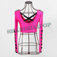 Neon Crop T-shirt Top V Neck Sexy Lace Stud Spike Long Sleeve Pole Dancing Club