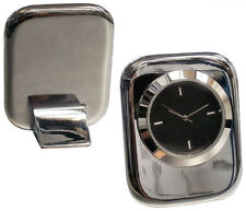 Personalised Heavy Chrome Cushion Clock Executive Desk Gift, Engraved