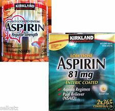 Kirkland Signature Safety Coated Enteric Aspirin Pain Reliever NSAID ~ Pick One