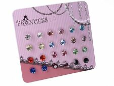 Wholesale Lot of 12 Pairs Color Crystal Stud Earrings Fashion Jewelry for Girls