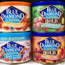 Blue Diamond Whole Natural Almonds Snack Cans Healthy Nuts High Fiber ~ Pick One