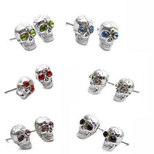 Stainless Steel Crystal Skull Studs Hoop Mens Earrings (Multiple colour) E291