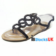Ladies Womens Gladiator Sandals Beach Summer Shoes Size 3 4 5 6 7 Black 33000017