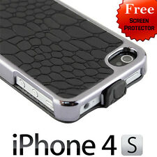 New Deluxe Stone Flip Leather Chrome Case Cover for Apple iPhone 4 4G 4S