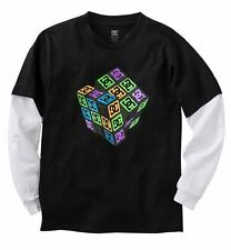 DC SHOES Youth Boys Thinking Cubed Mock Layer Tee Shirt Black NWT