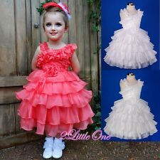 Organza Tiered Dress Wedding Flower Girl Pageant Party Occasion Size 2T-6 #239